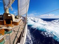 bow, ship, sailing, offshore, atlantic, sail, surf, following, seas, surfing, sloop, foundation