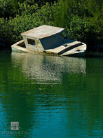 sunken, morgan's, point, fishing, boat, water, old, southampton
