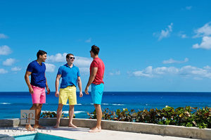 three, young, men, pool, ocean, bright, color, Bermuda Shorts, tee shirt, casual, conversation