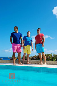 portrait, young, men, pool, ocean, bright, color, Bermuda Shorts, tee shirt, casual, distance, three