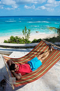 Bermuda Shorts, hammock, beach, waves, roll, south shore, lounging, tee shirt, red