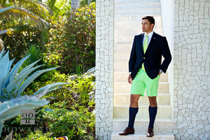 portrait, young, professional, green, Bermuda Shorts, tie, jacket