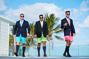 Bermuda shorts, jacket, knee socks, young, professional, smiling, laughing, pink, green, blue, tie, walking, bright, color
