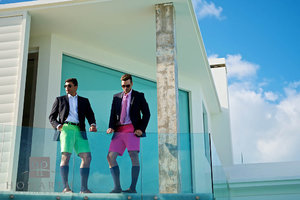 Bermuda shorts, jacket, knee socks, young, professional, glass balcony, pink, green, bright, color