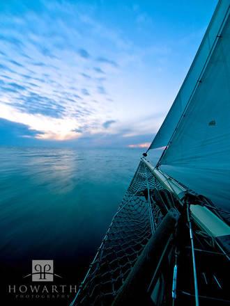 fading, light, bow, horizon, long, exposure, atlantic, ocean, sloop, foundation
