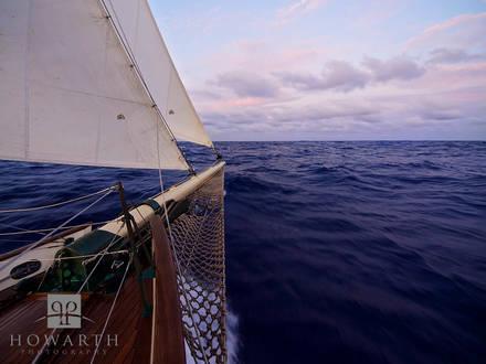 evening, seas, ploughing, atlantic, ocean, departing, bermuda, sail, , sloop, foundation