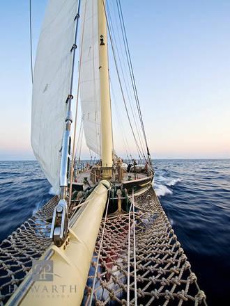 Looking, back, spirit, evening, light, perspective, atlantic, ocean, sloop, foundation