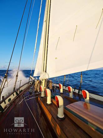 bow, splash, wave, late, afternoon, sun, ship, atlantic, ocean, sloop, foundation