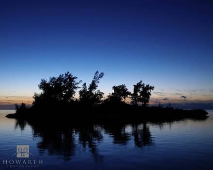 Island, Silhouette, elys, harbour, twilight, palm, island, somerset