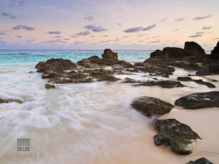 pink, sand, sky, waves, rocky, beach
