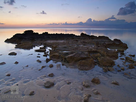 rocky, outcrop, sunset, tide, ireland, island, somerset, black, bay