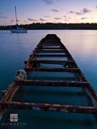 Twighlight, dock, sailboat, rusty