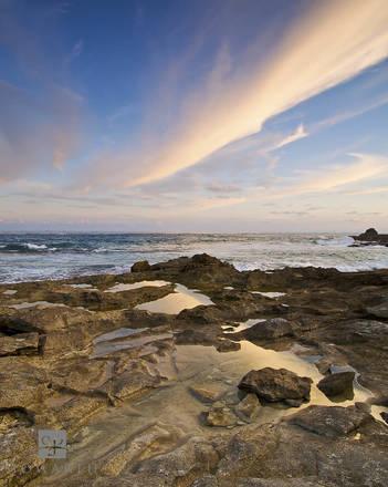 rock, pool, reflection, devonshire, bay, evening, sky