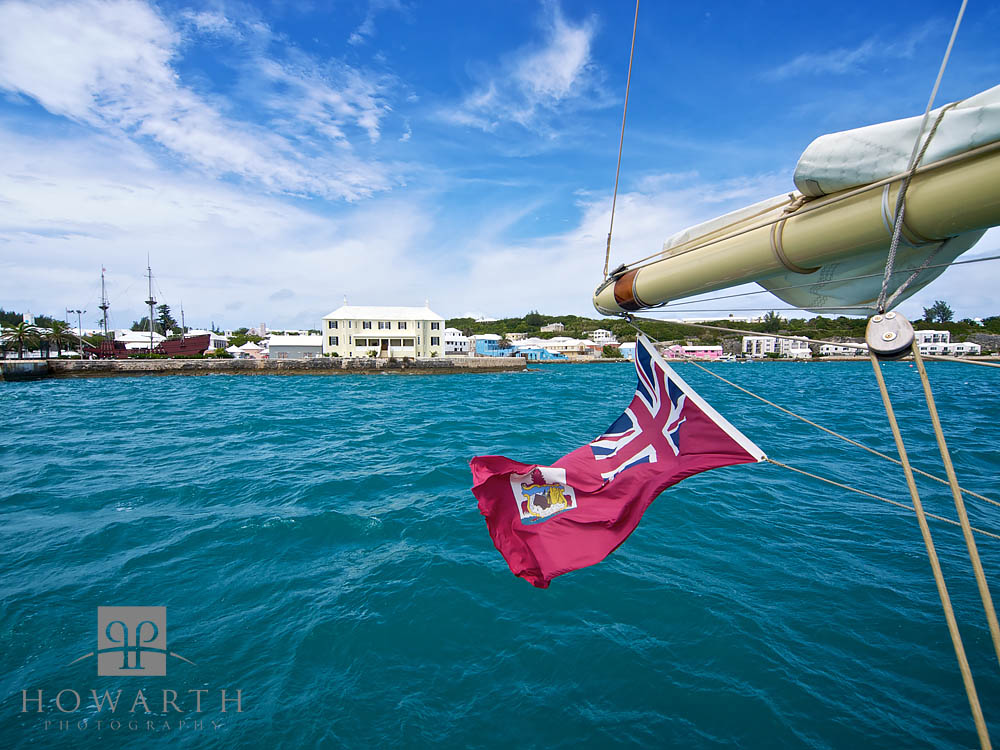 Preparing for departure Spirit was made ready and cast off. The Bermuda flag flying with the old town in the background