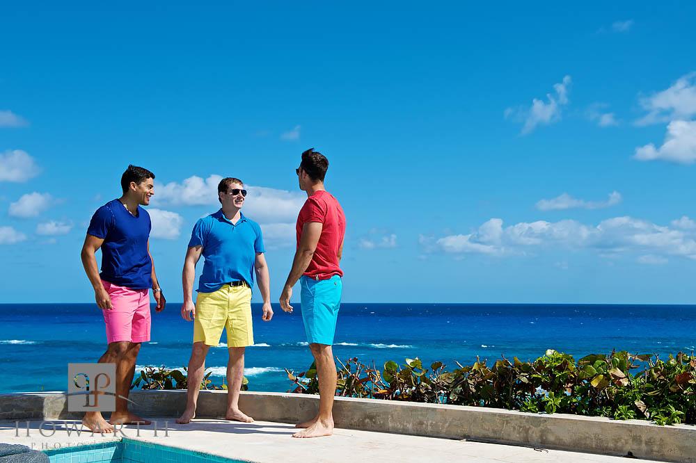 three, young, men, pool, ocean, bright, color, Bermuda Shorts, tee shirt, casual, conversation, photo