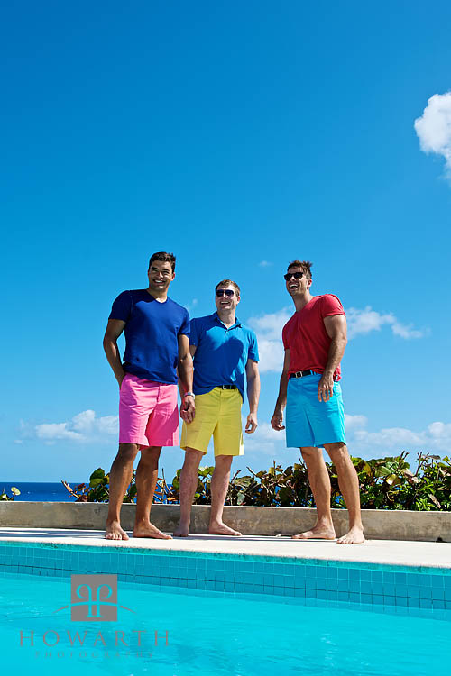 portrait, young, men, pool, ocean, bright, color, Bermuda Shorts, tee shirt, casual, three, photo
