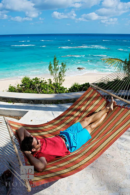 Bermuda Shorts, hammock, beach, waves, roll, south shore, lounging, tee shirt, red, photo
