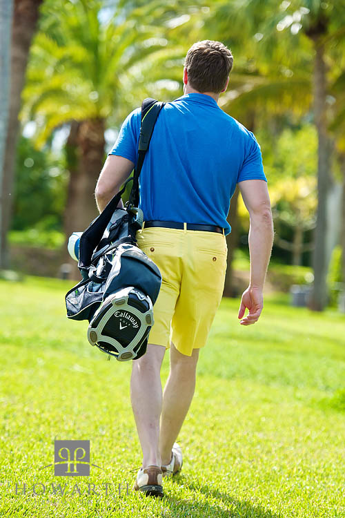 golfer, tee, golf, Bermuda Shorts, casual, bright, yellow, blue, polo, shirt, photo