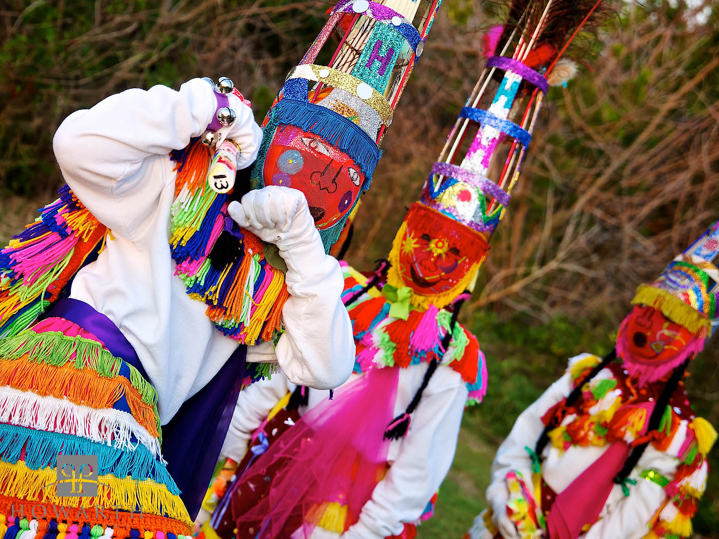 Gombey, Dancers, Costume, Mask, colours, photo
