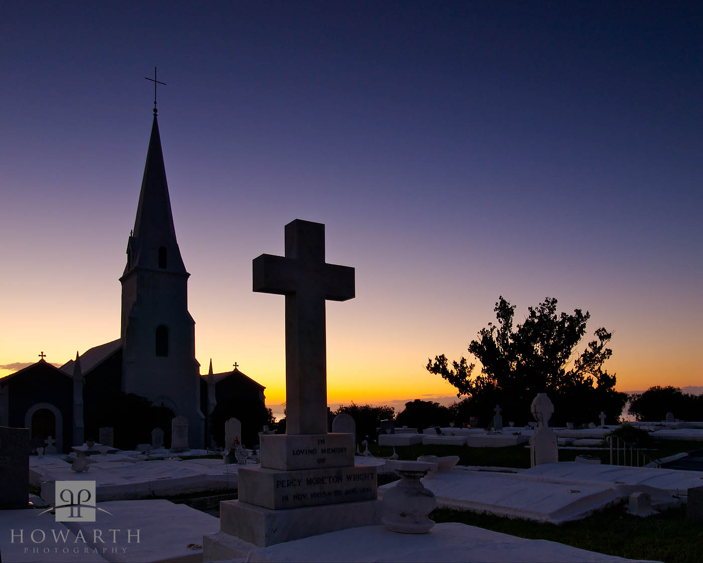 cross, church, st. james, twilight, somerset, photo