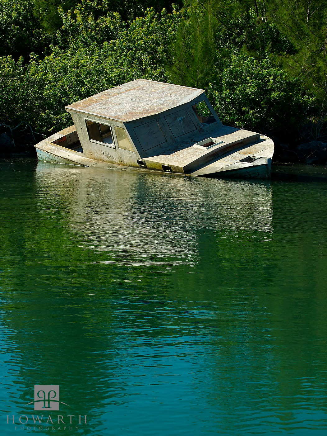 sunken, morgan's, point, fishing, boat, water, old, southampton, photo