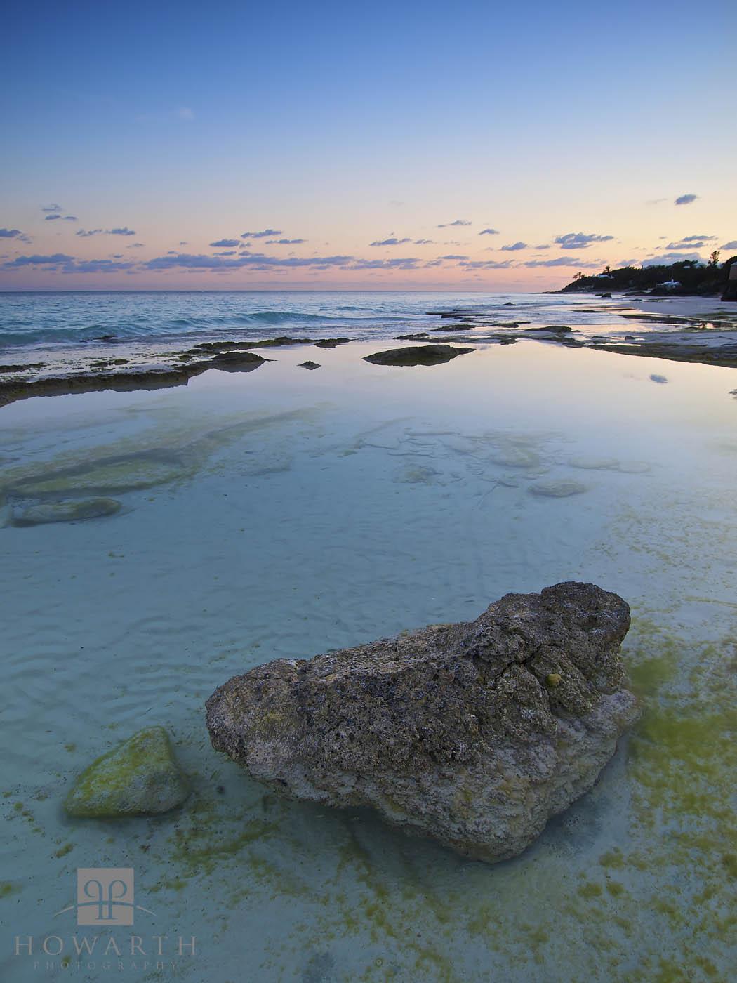 rock, pool, grape, bay, paget, shallows, calm, evening, photo
