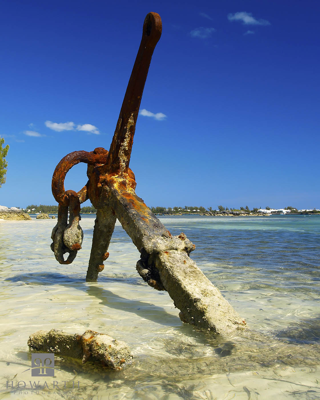 An old, large, ship anchor sits up on the beach outside of Teddy Tucker's house